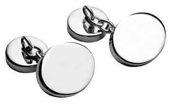 Oval Silver Chain Cufflinks Plain