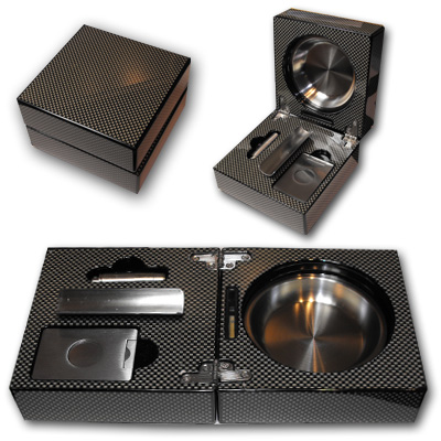 Folding Cigar Ashtray With Accessories - Carbon Fibre