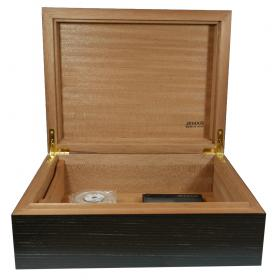 Jemar Indian Collection Black Textured Humidor - 70 Cigar Capacity