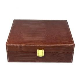Hamilton Crocodile Print Brown Leather Humidor 20 Cigars