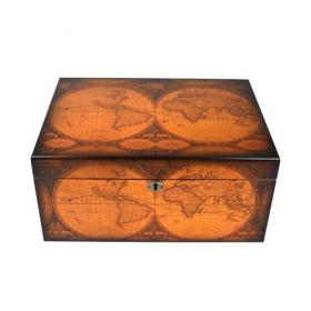Antique World Map Humidor - 75-100 Capacity
