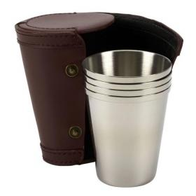 TSC Set of Four Steel Travel Cups in Leather Case