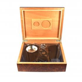 My First Humidor - Burl Finish Humidor with Starter Set - 30 Cigar Capacity