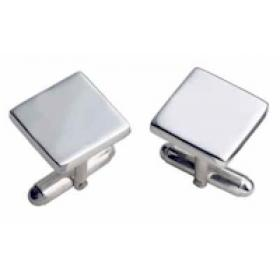 Square Silver Bar Cufflinks Plain