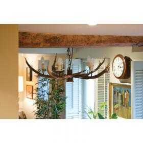 Cottage 5 Horn Antler Chandelier NEW