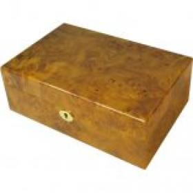 Maple Burl 50 Cigar capacity Humidor & Lock