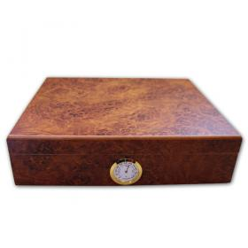 Classic Light Burl Desk Top Humidor - 20 Cigar capacity