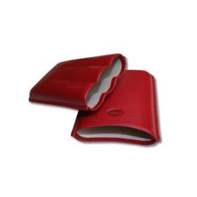 Jemar Leather Cigar Case – Robusto - Three Cigars - Red