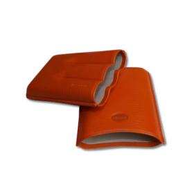 Jemar Leather Cigar Case – Robusto - Three Cigars - Orange