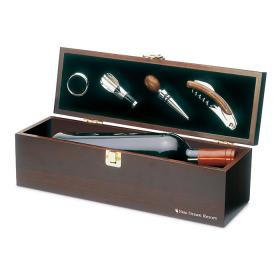 Wine Set in Dark Wood Wine Bottle Gift Box - FREE Engraving