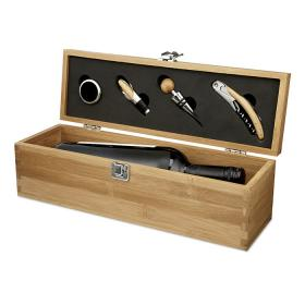 Wine Set in Bamboo Wood Wine Bottle Gift Box - FREE Engraving