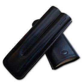 Jemar Leather Cigar Case – Churchill 2 Cigars - Black