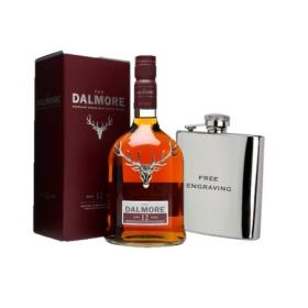 Dalmore 12 Year Old Whisky & Silver Hip Flask (free engraving)
