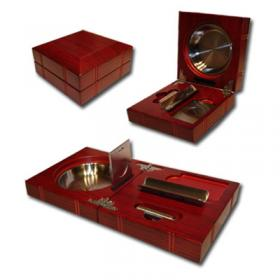 Folding Cigar Ashtray With Accessories – Rosewood Finish NEW