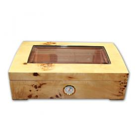 Burl Maple Window Humidor - 50 Cigars