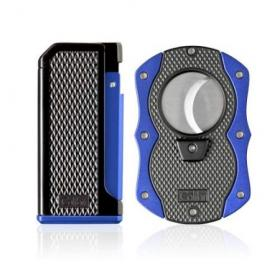 Colibri Monza Jet Cigar Lighter and Cutter Gift Set – Blue