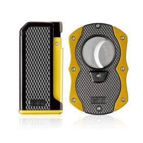 Colibri Monza Jet Cigar Lighter and Cutter Gift Set – Yellow