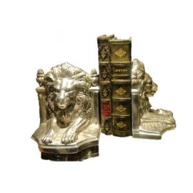 Silver Lion Book Ends - Pair