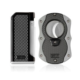 Colibri Monza Jet Cigar Lighter and Cutter Gift Set � Silver