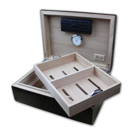 Gentili Pelle Cigar Humidor - Black Crocodile & Ebony - 50 Cigar capacity