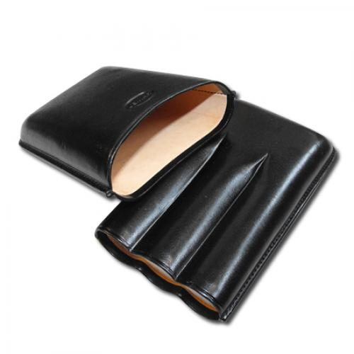 Jemar Leather Cigar Case – Robusto - 3 Cigars Black