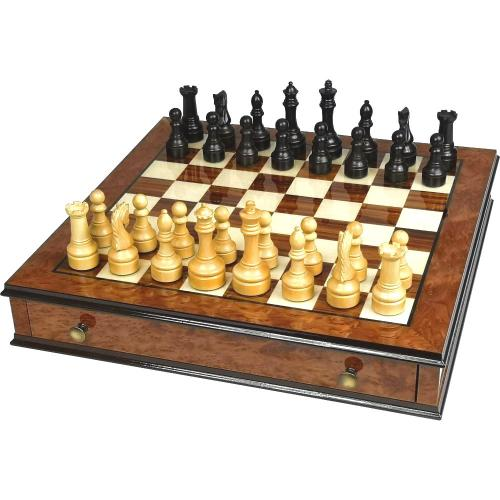 Elm Burl and Rosewood Chess Set