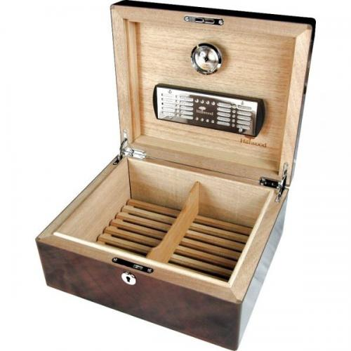 English Burl Walnut 25 Cigar Humidor & Lock