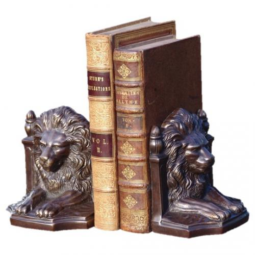 Bronzed Lion Book Ends - Pair